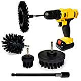 Power Grill Brush 5 Piece BBQ Cleaning Kit with Extended Long Attachment - Ultra Stiff Drill Brush - Grill Brush - Charcoal Gas Smokers - Grill Scraper - Power Scrubber - Food Remover- Grill Brush