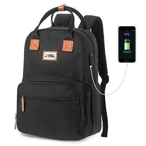 Business Travel Backpack, 15.6 Inch Slim Laptop Backpack with USB Charging Port, Water Resistant College School Bookbag Notebook Computer Backpack for Men & Women (Black)