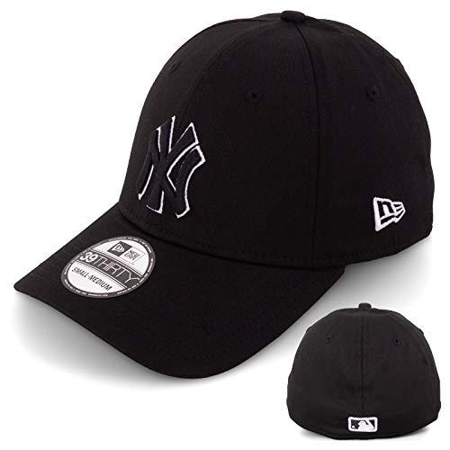 New Era - Gorra de béisbol para hombre, edición limitada, MLB, 39THIRTY, Stretch Fit, New York Yankees, Essential Basic blanco/negro XS/S