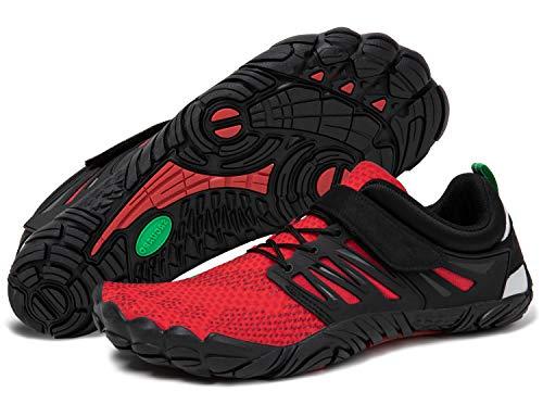 Barfußschuhe Damen Barfussschuhe Outdoor Sommer Aqua Schuhe Atmungsaktiv rutschfest Schnellverschlüsse Frauen Traillaufschuhe Rot 37
