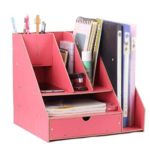 Independiente decorativo Estantería, estante de escritorio, caja de almacenamiento de carpetas, soporte de pluma, desorden de oficina, escritorio, dormitorio, sala de estar Organizador de almacenamien