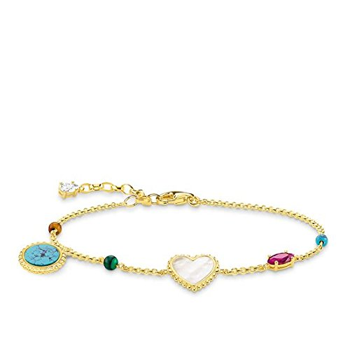 Thomas Sabo Damen-Armband Riviera Colours Glam & Soul 925 Sterling Silber gelbgold vergoldet Länge von 16 bis 19 cm A1764-490-7-L19v