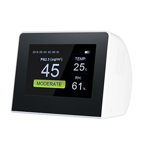 KAR Multifunktionsgasdetektor, Heimluftqualitätsmonitor für Innen- und Außenanwendungen, Digitale HCHO / TVOCPM2.5 PM1.0 PM10-Temperatur- und Feuchtigkeitserkennung