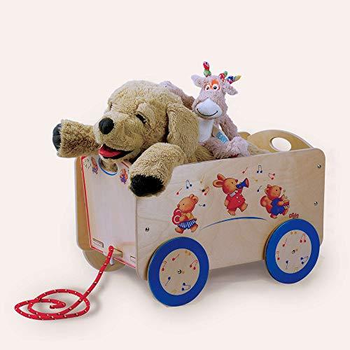 Dida - Leiterwagen Aus Holz Dekoration Tierchen, Ist EIN Bollerwagen Um Puppen Und Spielzeug Zu Transportieren. Der Handwagen Ist Ideal Als Transportwagen Oder Als Puppenwagen Geeignet.