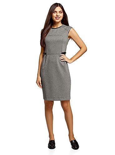 oodji Collection Damen Kleid mit Kunstleder-Verzierung, Grau, DE 40 / EU 42 / L