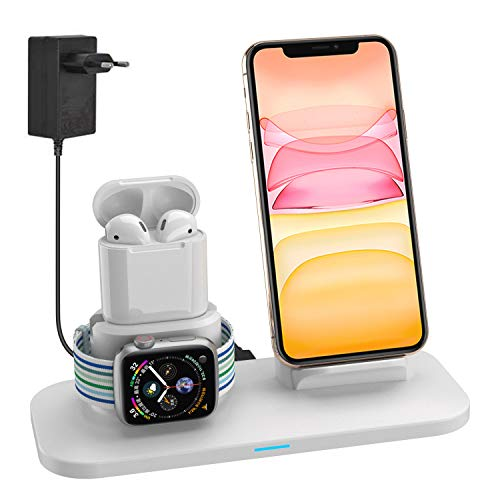 Supporto Caricabatterie Wireless 3 in 1 Caricatore Stand per Apple Watch, Qi wireless caricatore supporto di ricarica docking station per Airpods iPhone X/8 Plus/XS MAX/XR Iwatch 4/3/2/1-Bianco