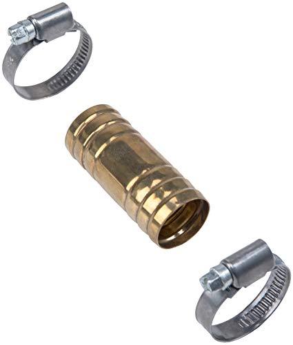 Cornat Schlauchverbinder Ø 26 mm - Mit 2 Schlauchschellen Ø 20 - 32 mm (1 Zoll) - Aus Messing / Schlauch-Verbindungsstück / Schlauchanschluss / Schlauchverlängerung / TEC308402