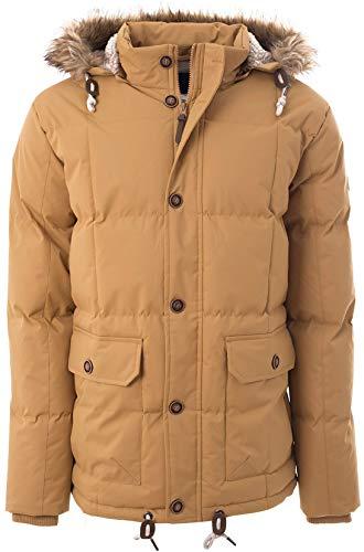 Soulstar Herren Winter Gepolsterte Jacke Heavy Duty Abnehmbare Kapuze mit Fell Oberbekleidung Parka Mantel Gr. XL, braun