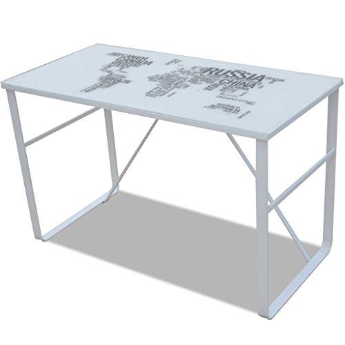 Anself - Escritorio rectangular con mapamundi impreso,vidrio+hierro,120x60x75cm