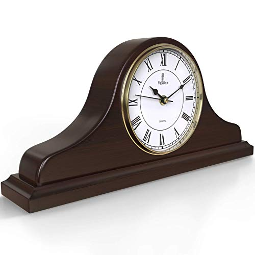 Mantel Clock, Wooden Mantle Clock for Living Room Décor - Silent, Decorative, Solid Wood, Battery Operated Mantle Clock for Fireplace Mantel, Office, Desk, Shelf & Home Décor Gift, 15x7.5 Inch