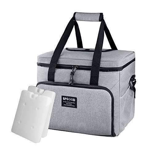 SPGOOD 30L Kühltasche Thermotasche Picknicktasche Lunchtasche Wasserdicht Isoliert Faltbar Kühlkorb Mittagessen Tasche Tragbarer Reisekühlerschutzkoffer mit Integriertem Flaschenöffner