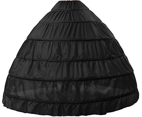 BEAUTELICATE Petticoat Reifrock Unterröcke Damen Lang Fur Brautkleid Hochzeitskleid Vintage Crinoline Underskirt., Schwarz, Einheitsgröße