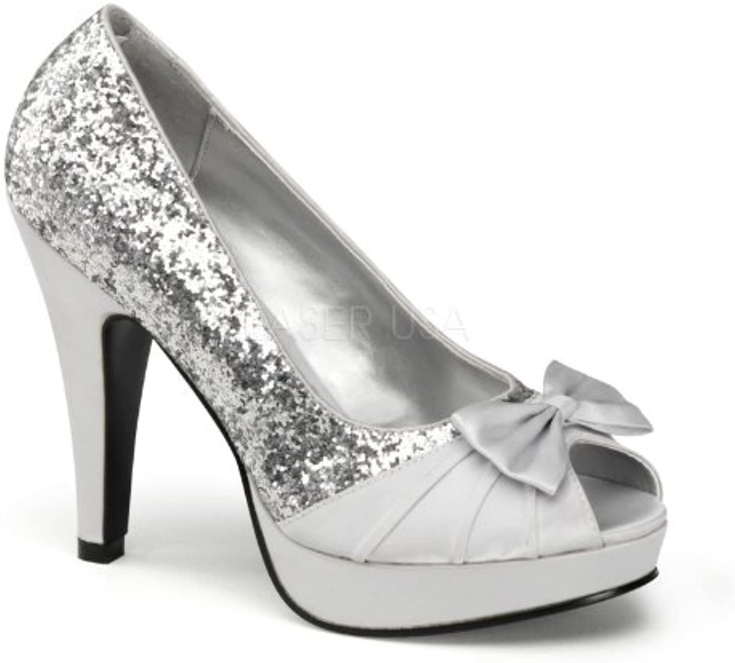 PINUP COUTURE BETTIE-10 4 1 2  Heel, 1  P F Open Toe Pump W  Bow Detail At Toe