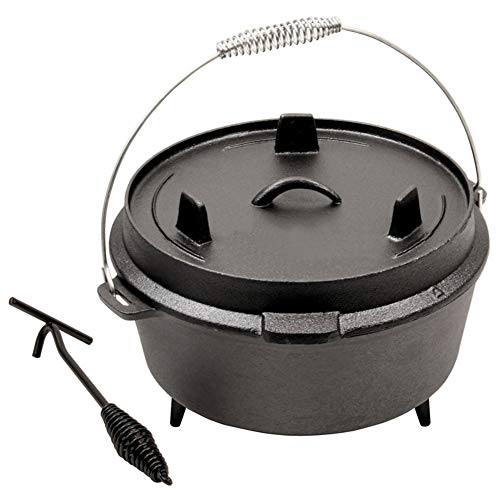ZLASS Pre Seasoned 9 Quart Camp Oven, Cast Iron Dutch Oven with lid and lid lifter tool, for outdoor camping barbecue kitchen cooking baking pan, 10in/25cm