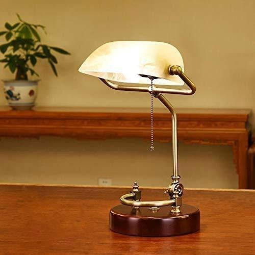 LFEWOZ Antico Banquieri Clásico Banqueri Vintage Lámpara de mesa tradicional E27 Salón Oficina Estudio Comedor Pull Line Switch Escritorio Lámpara de lectura Blanco