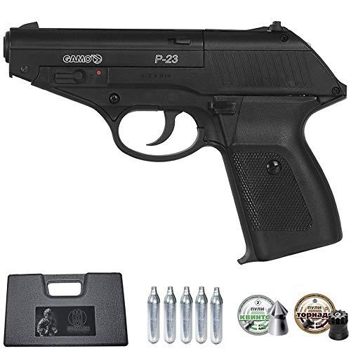Ecommur. P23 gamo | Pistola de Aire comprimido y perdigones semiautomática 4,5mm + maletín + 2 Cajas de balines y CO2