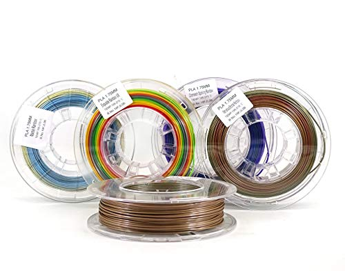 Stronghero3D 1.75mm PLA 3D Printer Filament Rainbow Multicolors PLA Filament Each 200gram Bundle Pack Spool - Dimensional Accuracy +/- 0.05mm