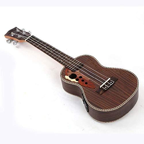 LOIKHGV 4 Saiten E-Gitarre 23 Zoll mit Elektrokasten Voll Palisander Traubenloch Ukulele 18 Bünde Gitarren, 23 Zoll