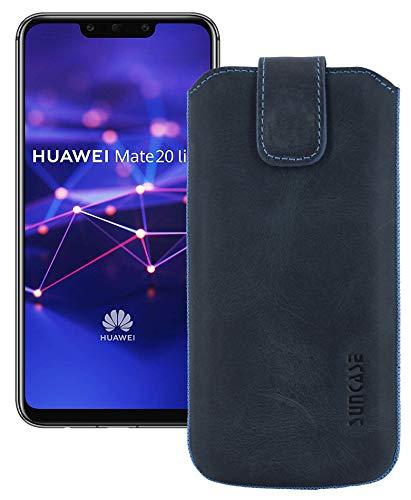 Suncase ECHT Leder Tasche für Huawei Mate 20 Lite Handytasche | mit ZUSÄTZLICHER Transparent Hülle | Schale | Silikon Bumper Cover (mit Rückzugsfunktion & Magnetverschluss) in Pebble Blue