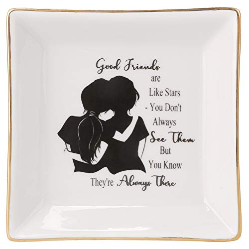 HOME SMILE Bestie Friends Birthday Gifts for Her Women Ring Trinket Dish-Good Friends are Like Stars - You Don't Always See Them But You Know They're Always There