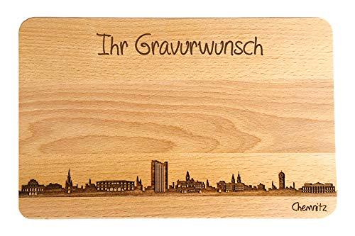 SNEG Brotzeitbrett Chemnitz Skyline   Frühstücksbrettchen aus Buche   Holz Schneidbrett   Geschenk mit Gravur   Frühstücksbrett   Sachsen (Brett L (26x16x1,5cm), 2. mit persönlicher Gravur)