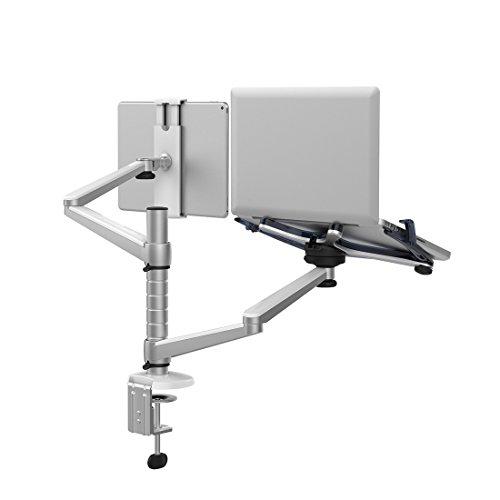 Verstellbarer Universal-Monitorständer aus Aluminium mit 2 neig- und schwenkbaren Armen für Laptop, Notebook und Computer, am Schreibtisch zu befestigen Laptop & Tablet