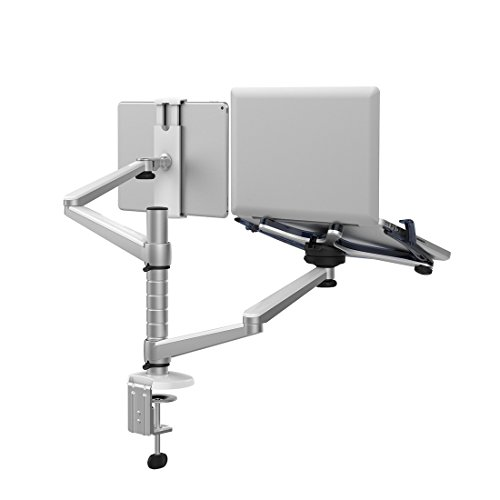 ThingyClub Adjustable Aluminium Universal Laptop Notebook & Tablet Stand Desk Mount Bracket Clamp Tilt Swivel Dual Arm Support Holder (Laptop & Tablet)