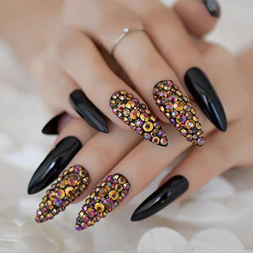 CLOAAE Glamor Rhinestone Extra Long False Nails Black Press On Nails Custom Handmade Designed Artist Fake Nails Wholesale 24