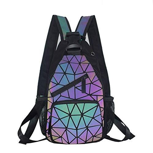 Damen Geometrische leuchtende Geldbörsen und Handtaschen, Farbwechsel-Geldbörsen, holografisch, reflektierend, Umhängetasche, Rucksack - Grau -
