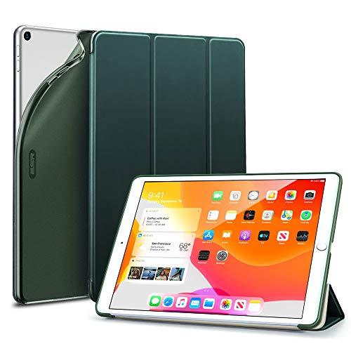 ESR TPU Hülle Kompatibel mit iPad 10.2 2019 Hülle für iPad 7. Generation - Smart Case Cover mit weiche Backcover [Auto Schlaf/Wach-Funktion & Ansichts-/Tippmodus] für iPad 10,2 Zoll - Dunkelgrün