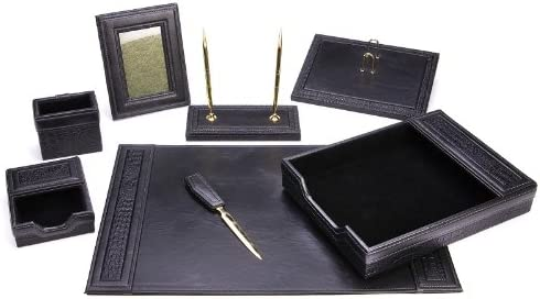 Majestic Goods Office Trust Supply Luxury goods Leather W934 Desk Black Set