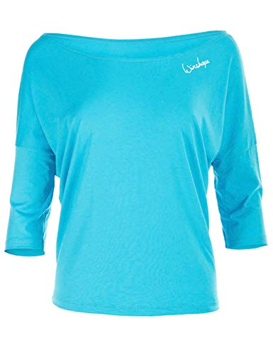 WINSHAPE Damen Dance Style, Fitness Freizeit Sport Yoga Workout 3/4-arm Shirt, Sky-Blue, XL