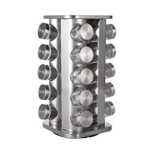 WENYOG Botes para Especias 12/16/20pcs Sazonando Rack Acero Inoxidable Rotación de Almacenamiento Rack Soporte de Vidrio Jar Cocina Restaurante Organizador de condimentos (Color : 20Pcs)