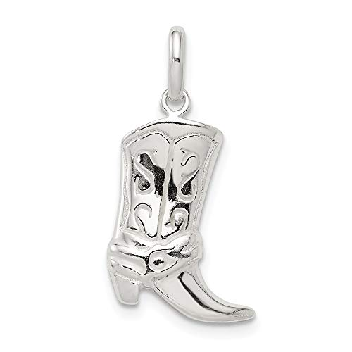 Mia Diamonds 925 Sterling Silver Solid Cowboy Boot Charm (22mm x 17mm)