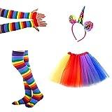サントレード チュチュスカート ガールズ 女の子 かわいい レインボー色 長いグローブ ストキング付き ヘッドバンド付き パーティーアクセサリー ドレス コスチューム パフォーマンス