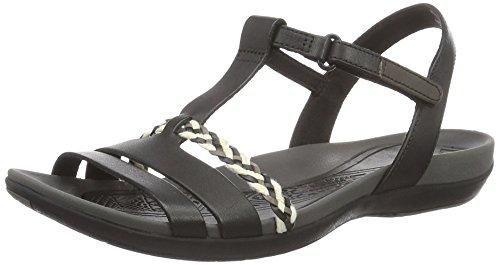 Clarks Tealite Grace, Sandali con Cinturino alla Caviglia Donna, Nero (Black Leather -), 42 EU
