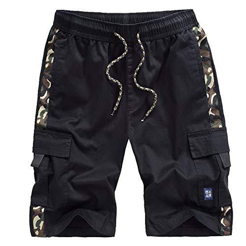 Pantaloncini da uomo estivi sciolti grandi in puro cotone sportivo casual pantaloni spiaggia Nero 8X-Large