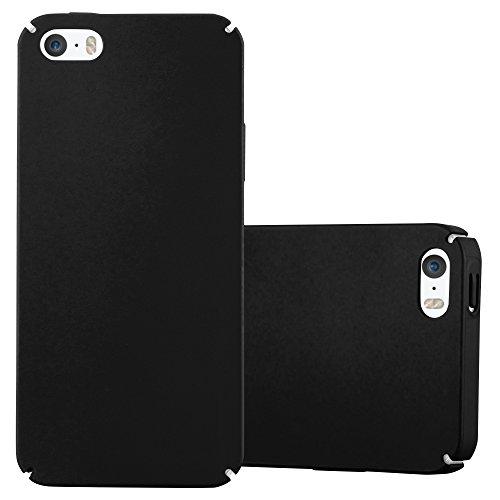 Cadorabo Custodia per Apple iPhone 5 / iPhone 5S / iPhone SE in Nero Metallo - Rigida Cover Protettiva Sottile con Bordo Protezione - Back Hard Case Ultra Slim Bumper Antiurto Guscio Plastica
