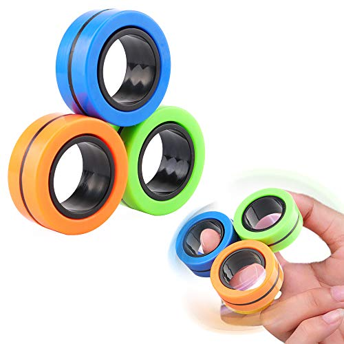 Eyscoco Anti-Stress Finger Magnetic Rings,Magnetische Finger Ring Stress Relief Spielzeug Magnetic Armband Ring Unzip Toy Magie Ring Requisiten,Werkzeuge Dekompression Spielzeug for Anxiety Relief