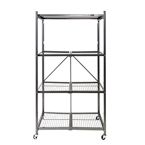 Origami 4-Shelf Foldable Storage Shelves  for Garage Kitchen Bakers Closet Metal Wire Collapsible Organizer Rack Holds up to 1000 pounds Powder-Coated Steel Heavy Duty  Pewter