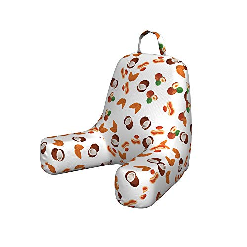 Ambesonne Tropical Reading Pillow, Assortment of Nuts Pattern Peanut Coconut Almondd Hazelnuts Tropical Fruits, Padded Resting Pillow with Back Pocket and Washable Cover, Small, Brown Orange