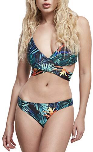 Urban Classics Ladies Draped Pattern Bikini Juego, Vriesea Black, L para Mujer