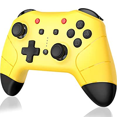 BEBONCOOL Wireless Controller for Nintendo Switch, Remote Game Controllers Gamepad for Nintendo Switch Pro Controllers Accessories with Turbo Function Dual Analog Sticks Controller(Yellow)
