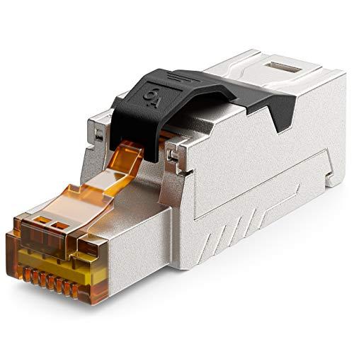deleyCON 1x CAT 6a Netzwerkstecker RJ45 mit LSA Anschluss Werkzeuglos für Starre Verlegekabel LAN Kabel Netzwerkkabel RJ45 Stecker CAT6a Geschirmt Metallgehäuse 10Gbit/s