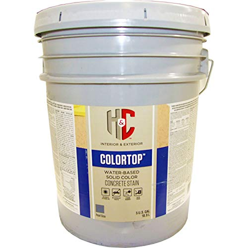 H&C 20.101315-20 Colortop Water-Based Solid Color Concrete Stain Pearl Gray 5 Gallon