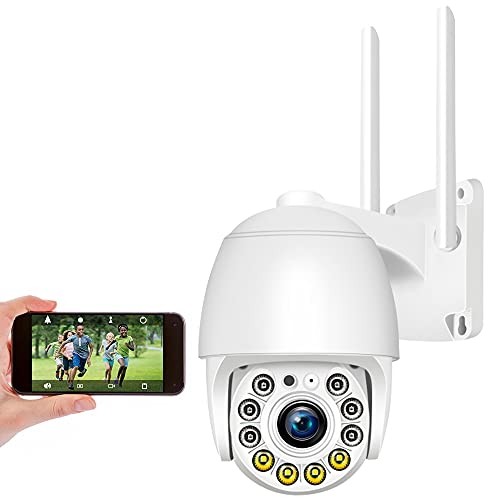 Cámara Domo Exterior WiFi Impermeable con App IP Pro WiFi Camera Kit, Aottom 1080P Cámara IP inalámbrica 360° WiFi con Detector de Movimiento Alarma, Audio de Dos Vías, Compatible, Soporta MAX 128G