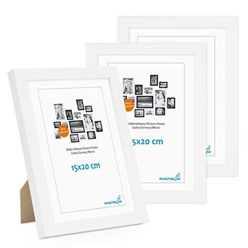 PHOTOLINI 3er Set Bilderrahmen 15x20 cm Modern Weiss aus MDF mit Acrylglas/Portraitrahmen/Wechselrahmen