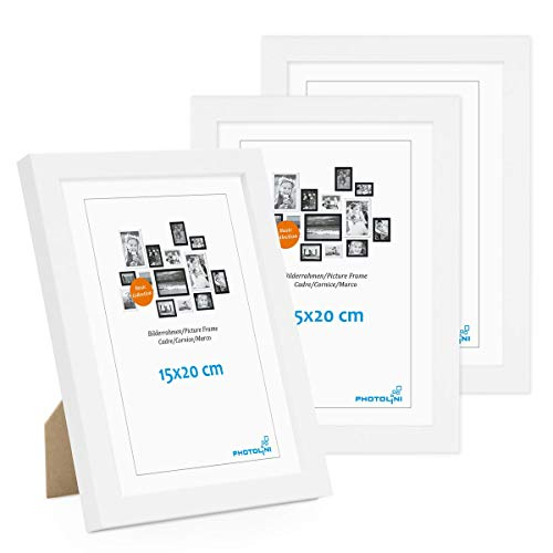 Photolini Set di 3 cornici per Foto da 15x20 cm Modern Bianco in MDF con Vetro Acrilico, Accessori Inclusi/Collage Foto/Galleria Fotografica