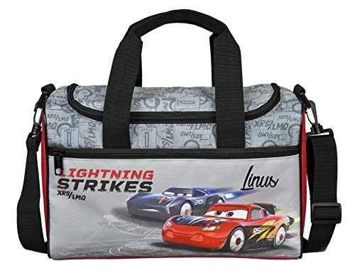 Sporttasche mit Namen | Motiv Cars in grau und schwarz | Personalisieren & Bedrucken | Reisetasche Umhänge-Tasche für Kinder I inkl. Namensdruck