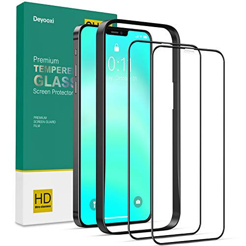Deyooxi (2 Packs) Screen Protector Compatible with iPhone 12 Pro Max,(Edge to Edge 3D Coverage) Tempered Glass Screen Protector, 3D Full Protective Screen Film(Guidance Frame Include),Black